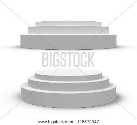 White Round Podium, Isolated On White