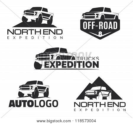 Set Of Modern Suv Pickup Emblems, Icons And Logos.