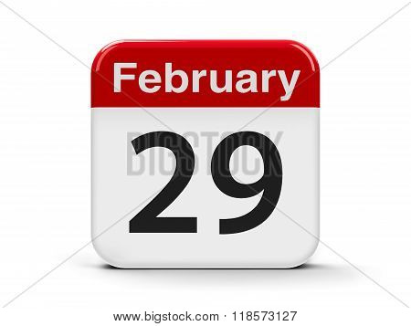 Calendar web button - The twenty ninth of February three-dimensional rendering poster