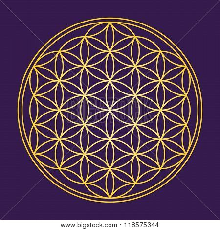 Flower of Life Gold Color