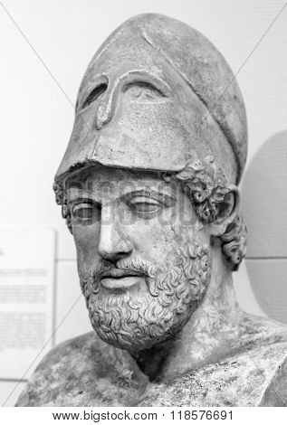 Ancient marble portrait bust of Pericles