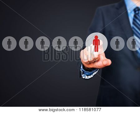Businessman Pressing Button On Virtual Screens