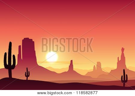 A Desert Landscape with Mountains and Sunset, Sunrise.