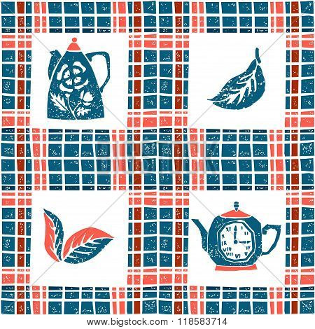 Seamless pattern in lino style, teapots and plaid