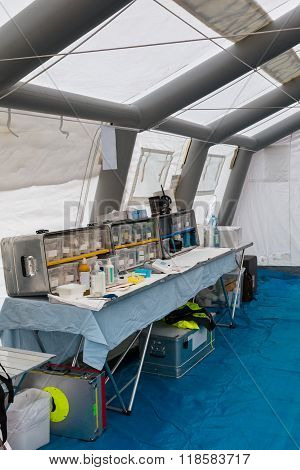 Emergency Medication And Equipment Inside Temporary Rescue Control Centre Tent