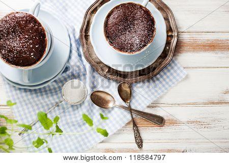 Chocolate cake in a coffee mug
