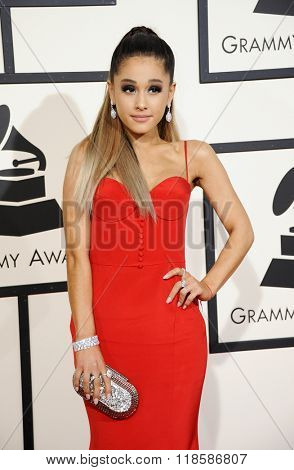 Ariana Grande at he 58th GRAMMY Awards held at the Staples Center in Los Angeles, USA on February 15, 2016.