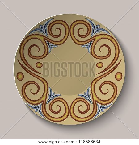 Background Of Dishes With A Circular Pattern In The Ancient Greek Style.