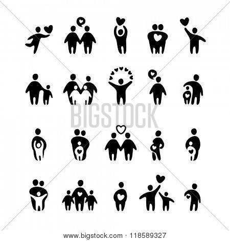 Family icons. Family icons set. Family groups.
