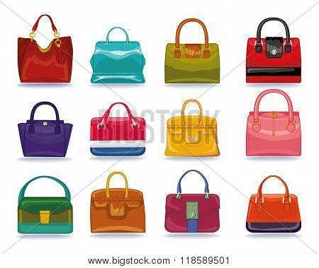 Colored female handbags set.Fashion Illustration