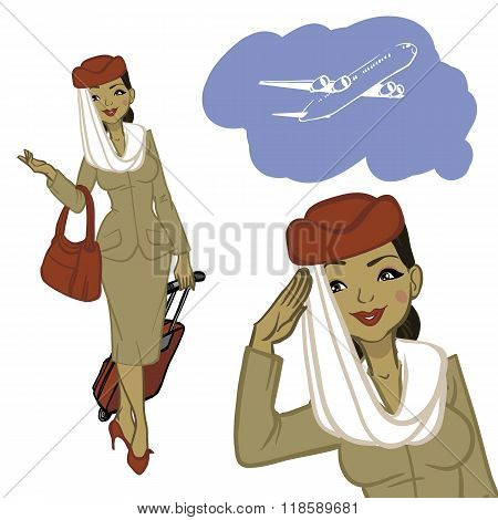 Beautiful Arabian Air Hostess. Woman In Official Clothes