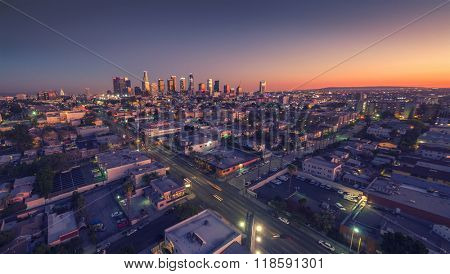 City of Los Angeles cityscape skyline scenic aerial view at sunset.