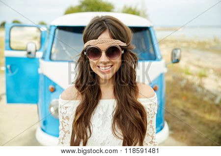 summer holidays, road trip, vacation, travel and people concept - smiling young hippie women in minivan car poster