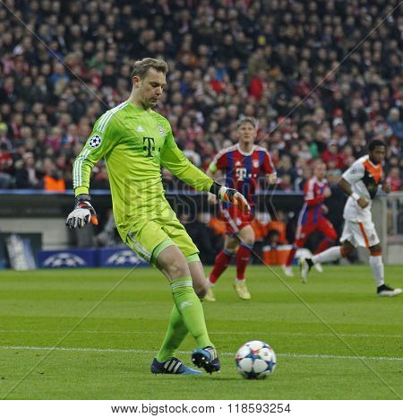 MUNICH, GERMANY - MARCH 11 2015: Bayern Munich's goalkeeper Manuel Neuer  during the UEFA Champions League match between Bayern Munich and FC Shakhtar Donetsk.
