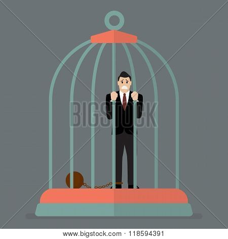 Businessman With Weight In Bird Cage