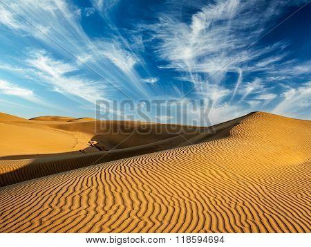 Sam Sand dunes in Thar Desert. Rajasthan, India