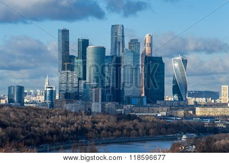 Moscow city at winter evening, Russia. International Business Center