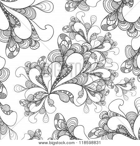 Abstract doodle style background on white for advertising something or for coloring page
