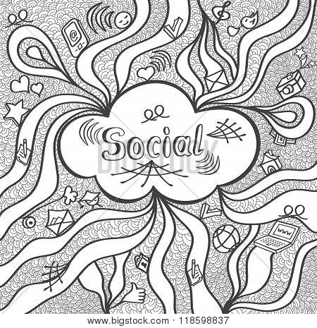 Abstract social cloud in doodle style black white for website banners and other things or for colori