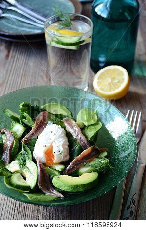 Avocado and anchovy salad