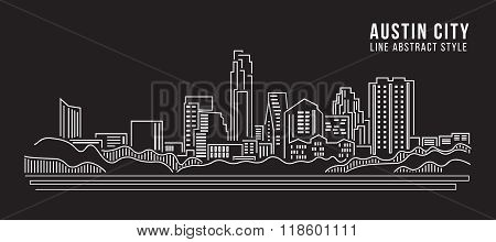 Cityscape Building Line Art Vector Illustration Design - Austin City
