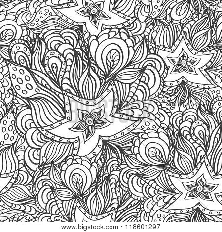 Seamless pattern with doodle starfishes and seaweeds in black white or template for underwater worl