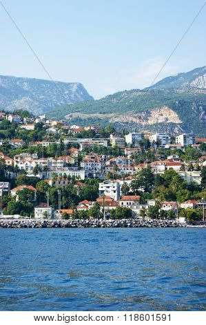 View from the sea to the city of Herceg Novi