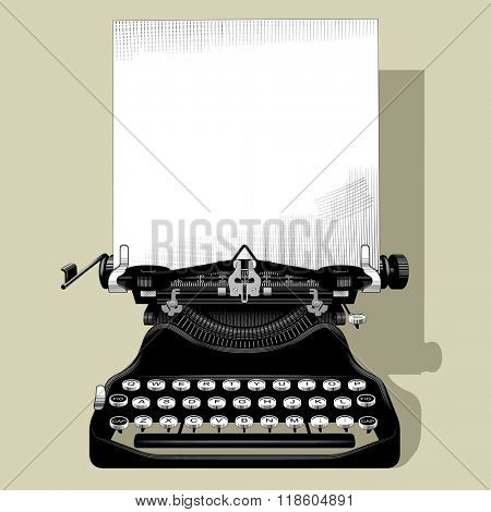 Drawing of old typewriter with a paper in black and white vintage engraving style. Contains the Clipping Path
