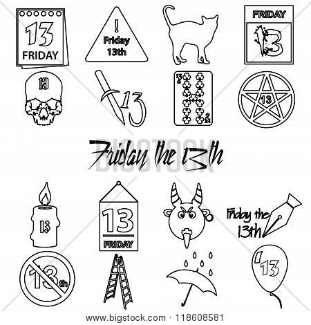 Friday The 13 Bad Luck Day Outline Icons Set Eps10