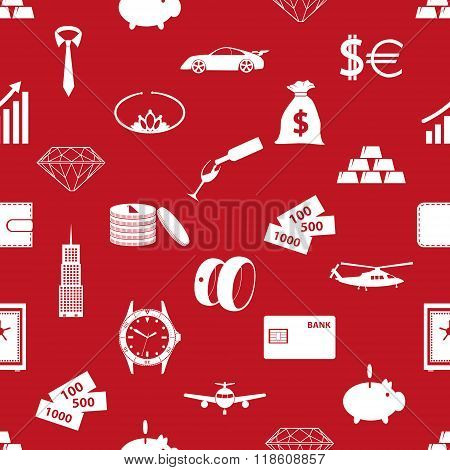 Richness And Money Theme Red Seamless Pattern Eps10