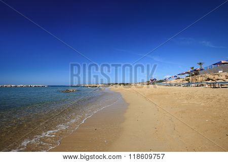 Beautiful Beaches Of Coral Bay In Cyprus. Paphos