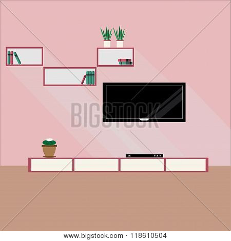Living Room In Modern Design. Flat Style Vector Illustration With Long Shadows.