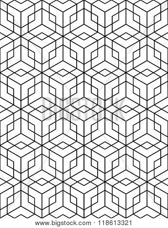 Regular Contrast Textured Endless Pattern With Cubes, Continuous Black And White Geometric Backgroun