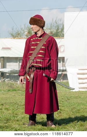 Reenactor in 18th century russian army uniform