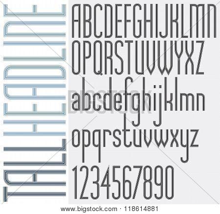 Retro Stripes Tall Headline Light Condensed Font.