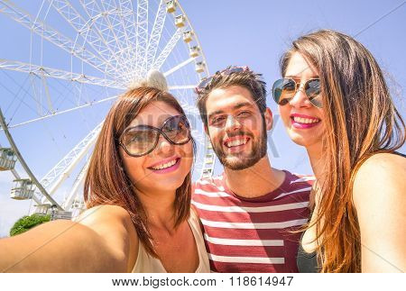 Best Friends Freezing A Moment With Selfie At The Ferrys Wheel-