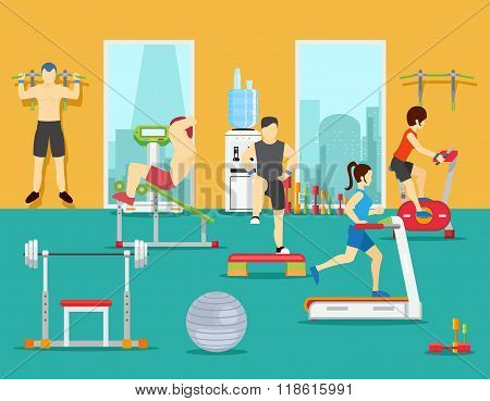 Training people in gym. Vector illustration flat style