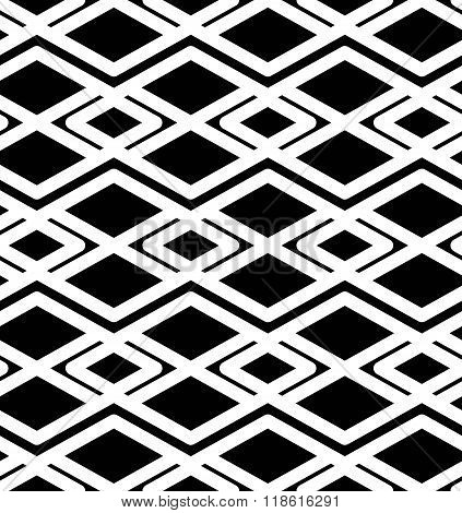Black And White Abstract Ornament Geometric Seamless Pattern. Symmetric Monochrome Vector Textile Ba