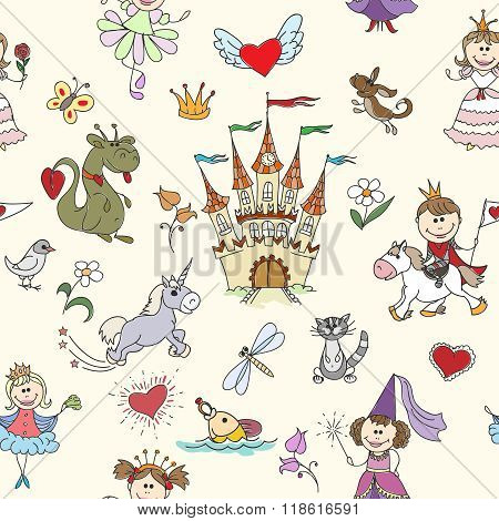 Little princess seamless pattern