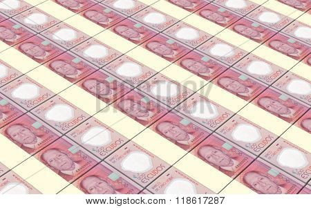 Cape Verdean escudos bills stacks background. Computer generated 3D photo rendering.