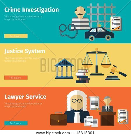 Justice and lawyer service vector banners set