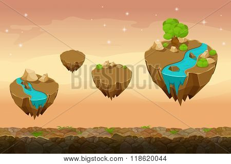 Night prairie game landscape, unending background with rivers on the islands