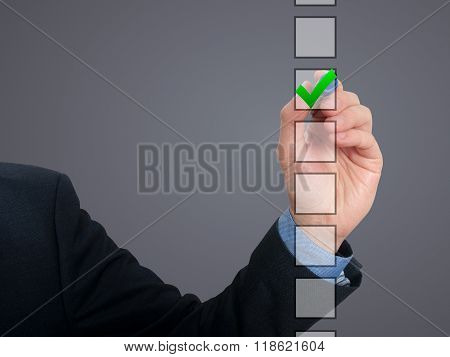 Business Man Draw With Marker On Empty Copy Space Ticking Check Box Isolated On Grey