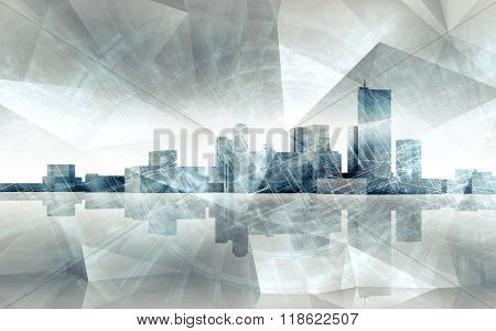 Abstract Cityscape Skyline. Blue Toned 3 D Render