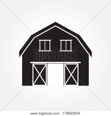 Barn house icon or sign isolated on white background. Vector illustration.