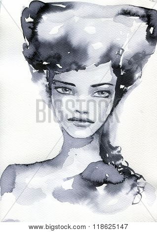 watercolor illustration showing the face of a pretty