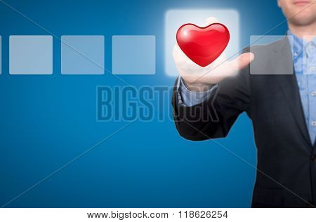 Businessman Touching Heart Button And Ticking Check Box