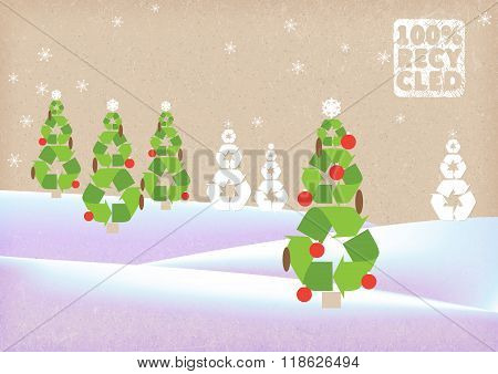 winter landscape on cardboard background. wood Christmas tree recycling. vector illustration