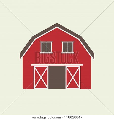 Barn house icon or sign isolated on white background. Vector illustration of red farm house.