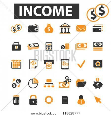 wealth icons, wealth logo, income icons vector, income flat illustration concept, income infographics elements isolated on white background, income logo, income symbols set, savings, economy